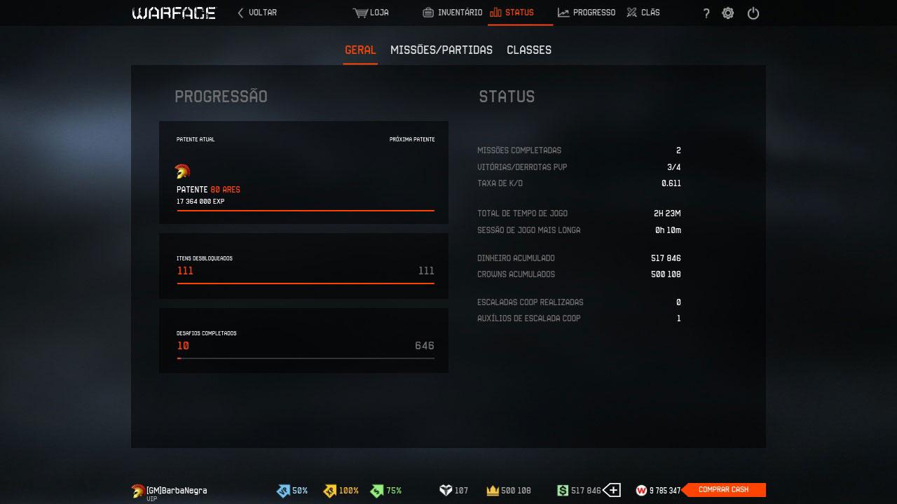 Estatísticas de conquistas no jogo